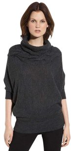Vince Charcoal Cable Knit Yoke Cowl Neck Dolman Wool Alpaca Sweater