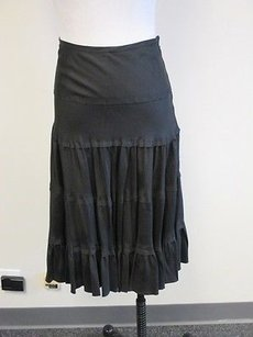 Vince 100 Silk Solid Side Zip Tiered Ruffle Hem Full Q303 Skirt Black