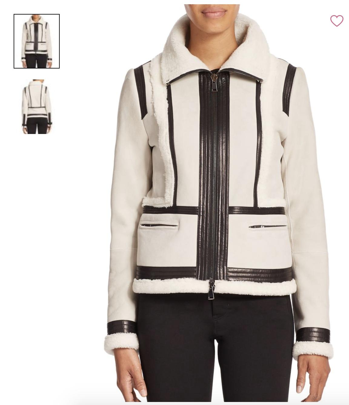 Vince off-white Leather Jacket ...
