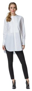 Vince Pleated Long Button Down Shirt White