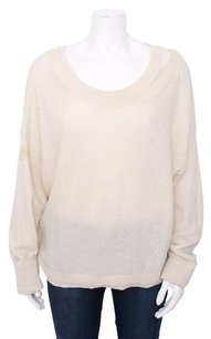 Vince White Cream Long Sleeve Wool Alapaca Silk Double Layer Dolman Sweater