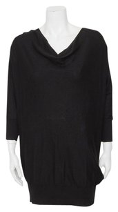 Vince short dress Black Knit Cotton Drape Cowl Neck Dropped Tunic Sweater on Tradesy
