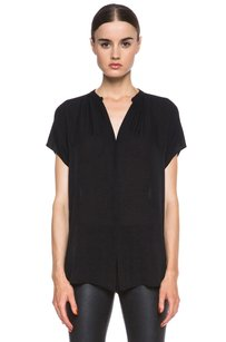 Vince Silk Georgette Dolman Short Sleeve Shirt Top Black