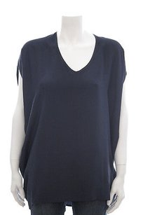 Vince Navy Silk Hi Low V Top Blue