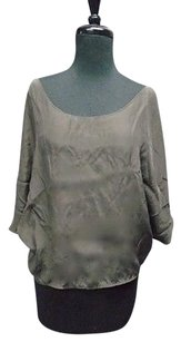 Vince Shiny Loose Short Sleeved Silk Lightweight Cropped 2522a Top Gray