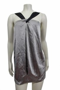 Vince Silk Halter Mini Top Gray Black
