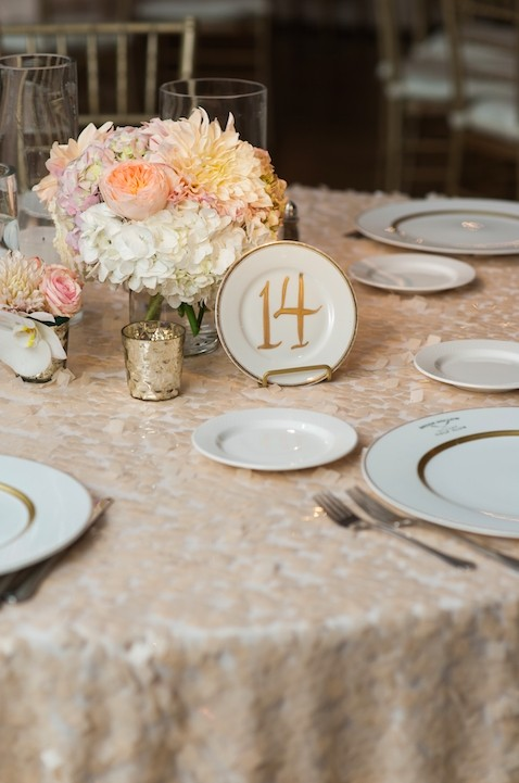 vintage plate table number with gold calligraphy includes plate stands