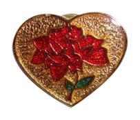 Vintage Unique Vintage 1960s Brooch 3/4 inch by 3/4 inch Red Rose Heart