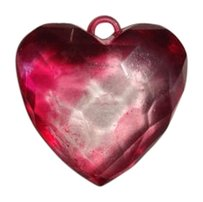 Vintage Vintage Heart Necklace pendant 2 inch by 2 inch Heavy plastic