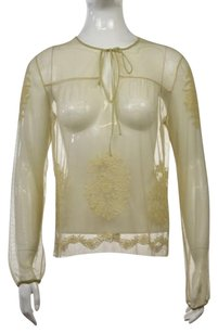 Vivienne Tam Womens Embroidered Long Sleeve Shirt Top Beige