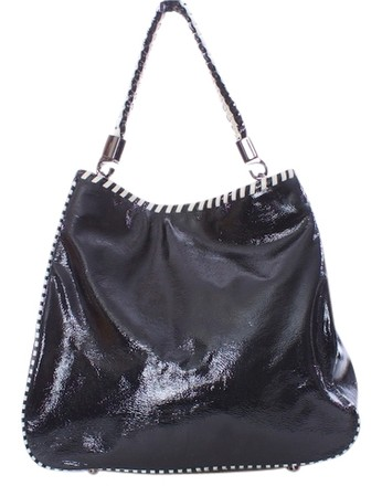 W by Worth Patent Leather Shoulder Tote in BLACK