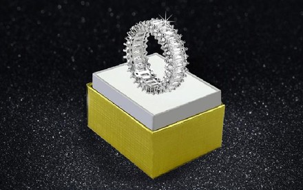 Other 18kt White Gold Emerald Cut Eternity Band #2027