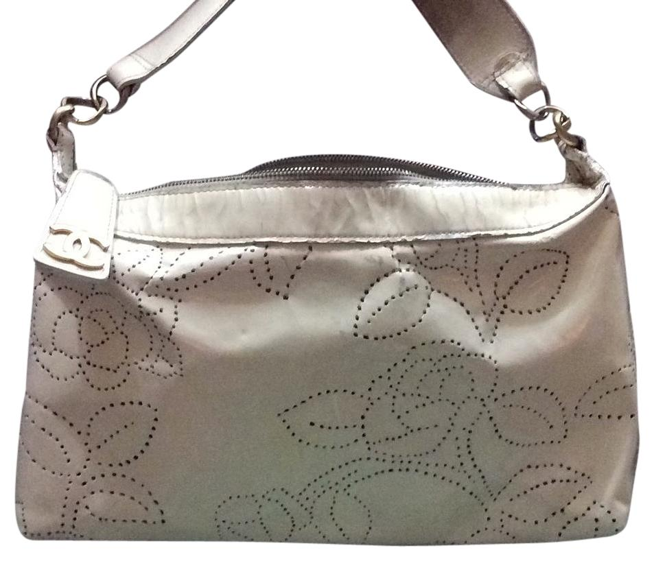 White chanel Patent Perforated Camellia Hobo