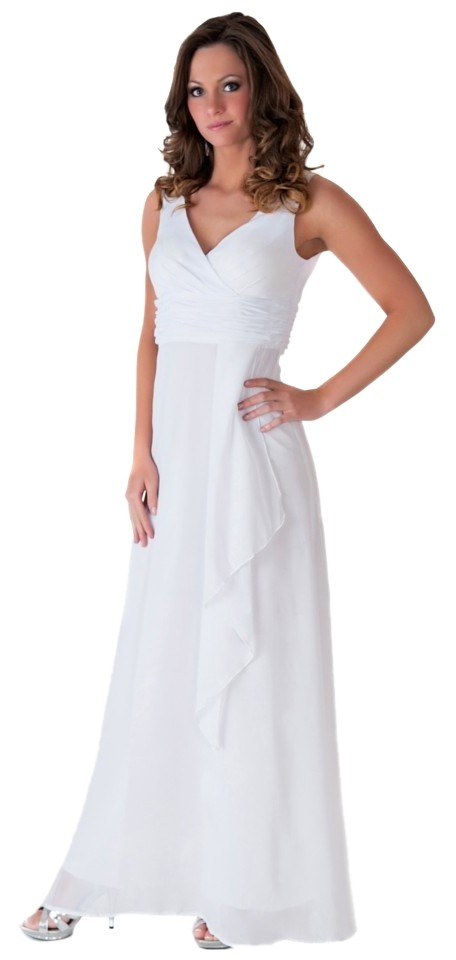White v neck formal dresses