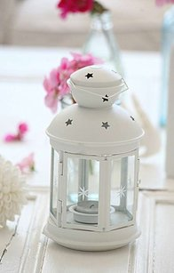 10 White Metal Lanterns Tea Light Candle Holders