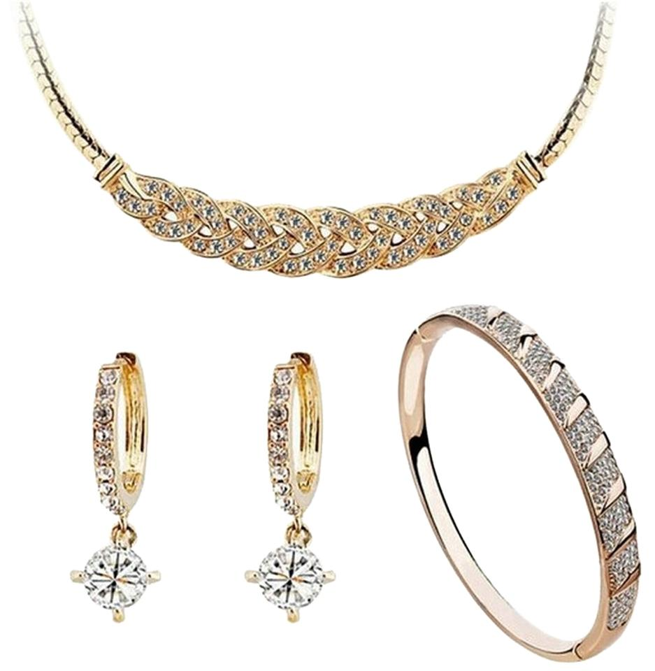 White Gold Plated Fashion Women Set with Artificial Crystal Earrings