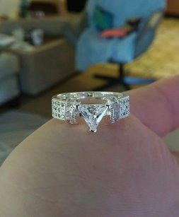 White Gold Tone/Silver Regal Trillion Round Cut Brilliant Engagement Ring