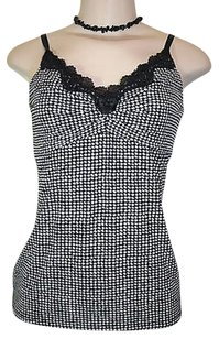 White House | Black Market Houndstooth Lace Trim Stretch Top Black