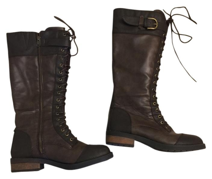 white mountain lace up zipper combat brown boots on sale