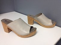 White Mountain Bankroll Leather Open Toe Slip On Cork Sole Mules B2986 Gray Sandals
