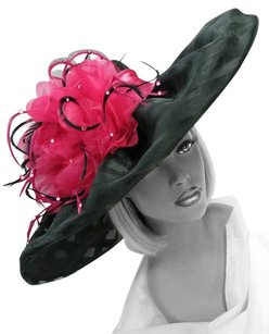 Whittall and Shon CLASSIC BLACK AND FUCHSIA WIDE BRIM CHURCH DERBY WEDDING HAT
