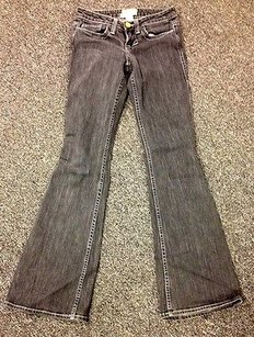 William Rast Black Denim Pocket Flat Front Casual Q619 Trouser/Wide Leg Jeans