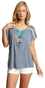 Willow & Clay Beaded Tribal E Embellished Top BLUE