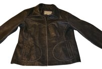 Wilsons Leather dark brown and black Leather Jacket