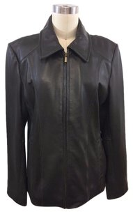 Wilsons Leather Leather Zip Front Brown Jacket