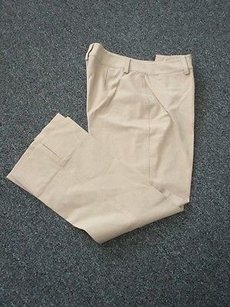 Womyn Flat Zip Front Solid Casual Cropped Sma 4147 Capri/Cropped Pants tan/khaki