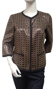 Worth Brown Tan Metallic Shimmer Chain Print No Zippers Multi-Color Jacket