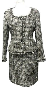 Worth Worth Black White Tweed Wool Metallic Button Up Skirt Suit Sma 11330