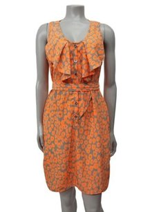 Yoana Baraschi short dress Orange gray Leopard Print Ruffle Cutout Back on Tradesy