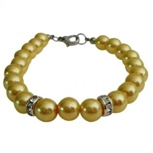 Young Girls Birthday Bridesmaids Wedding Cool Yellow Pearls Bracelet