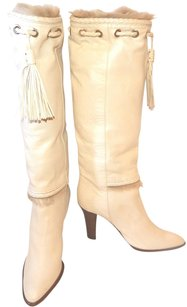 Yves Saint Laurent Leather Fur Tassels Knee High Cream Boots