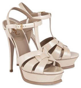 Saint Laurent Ysl Tribute cream Platforms