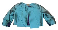 Zac Posen Designer Evening Cropped Silk Open Front Turquoise Blazer