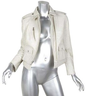 Zadig & Voltaire Womens Crackle Goat Leather Moto Zip 386 White Jacket