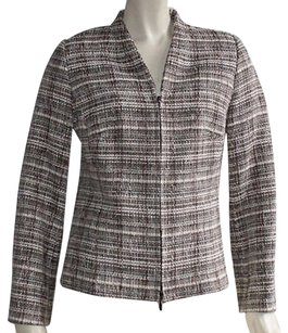 Zanella Taupe Black White Fully Lined Zip Closure V Neck Hs799 Brown Jacket