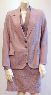 Zanella Zanella Purple Stretch Wool 3pc Jacket Blouse Skirt Suit