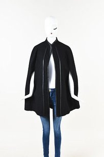 Zara Wool Pleather Trim Cape