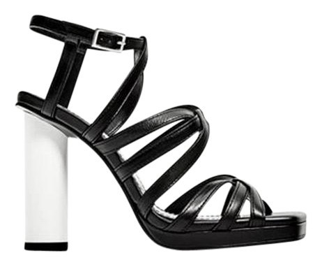 3eefac889e90 Zara Black Contrasting Contrasting Contrasting High Heel Sheep Leather New  Sandals Size US 9 Regular (M
