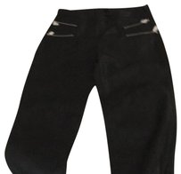 Zara Black Cropped Leather Pants L Capri/Cropped Pants black