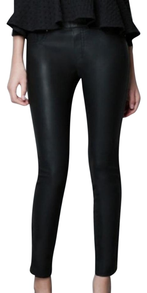 Zara Faux Leather Zipper Ankle Black Leggings ...