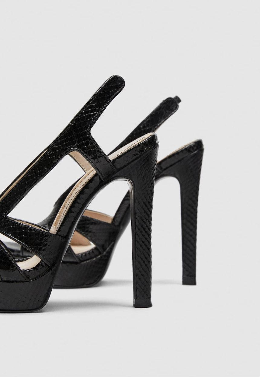 a63f3e82eea ... Zara Black Snake Embossed High High High Heel Platform Sandals Size US  10 Regular (M ...
