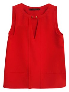 Zara Contemporary Modern Keyhole Summer Spring Top Red