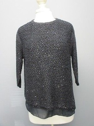 4501406b Zara Knit Navy Blue Sequined Sleeves Crew Neck Sweater Sma2412 85%OFF