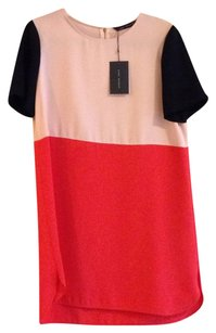 Zara short dress Blush Pink/Black/Coral on Tradesy