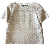 Zara Faux Leather Cut-out Floral Top White