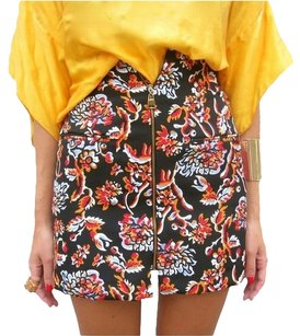 Zara Floral Multi Color Mini Mini Skirt Black